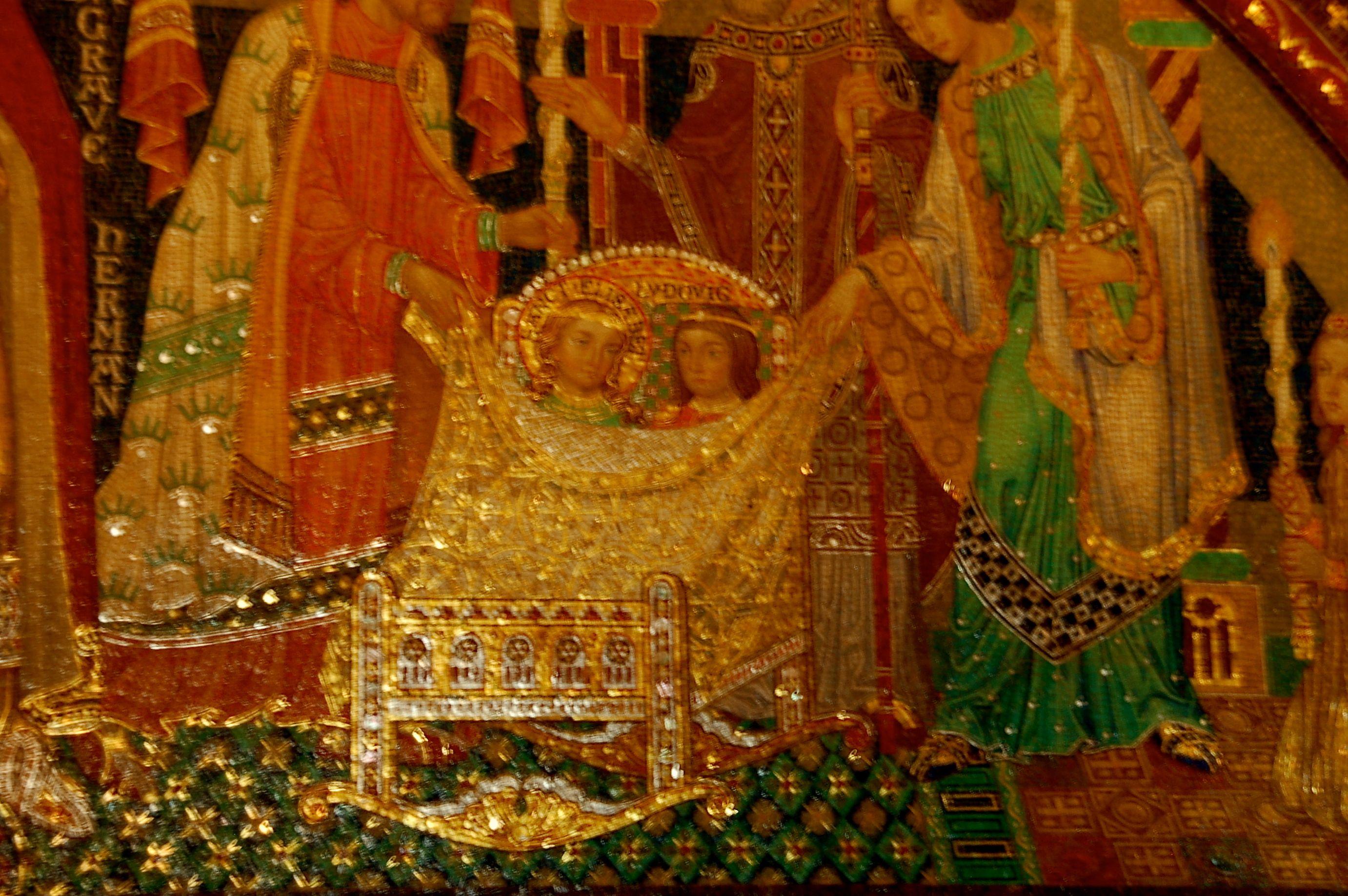 Blitz verboten, daher ist das Mosaik leider etwas unscharf: Die beiden Verlobten in der Wiege.