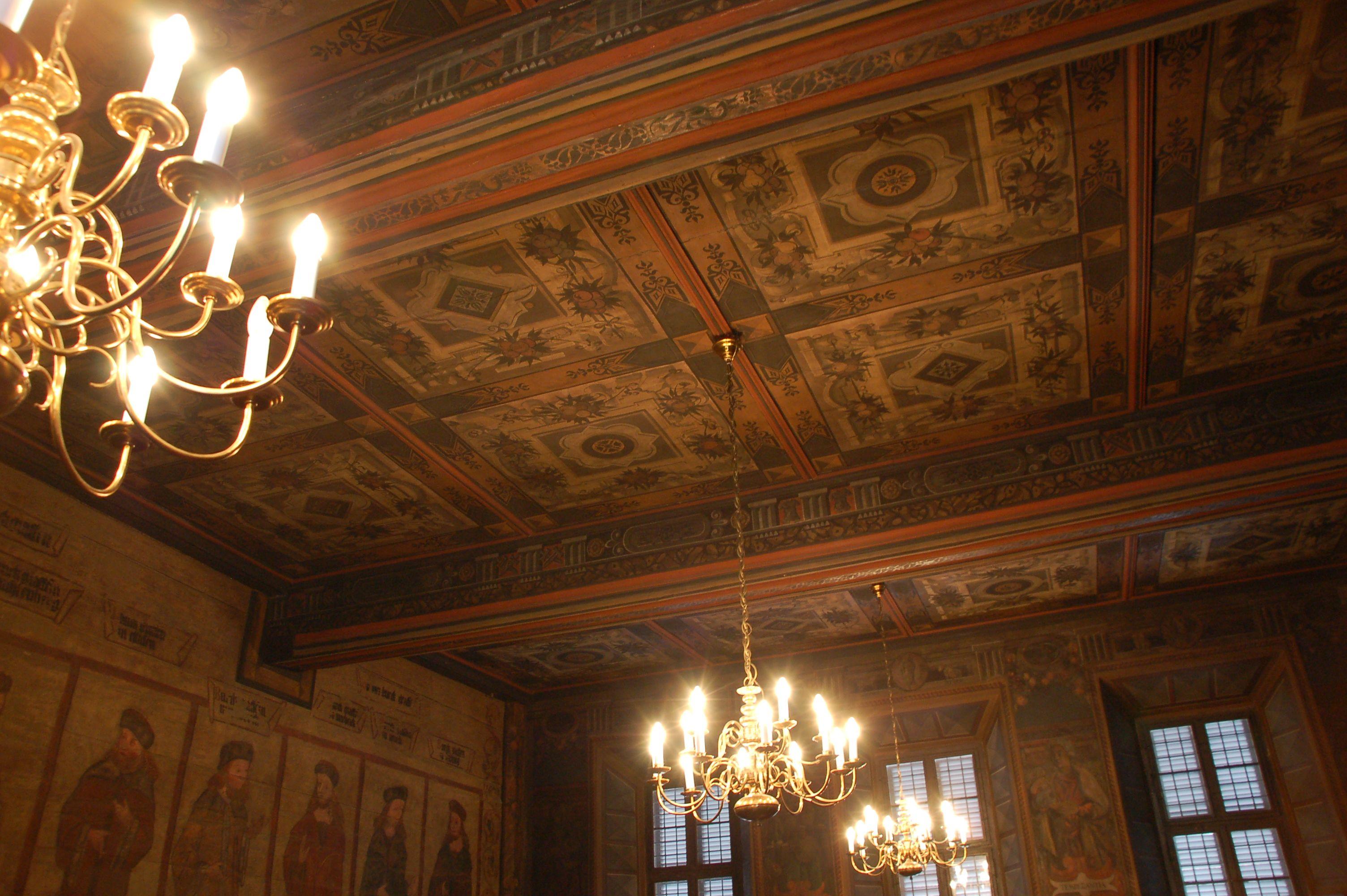 bemalte Decke der Ratsstube im alten Rathaus Mühlhausen