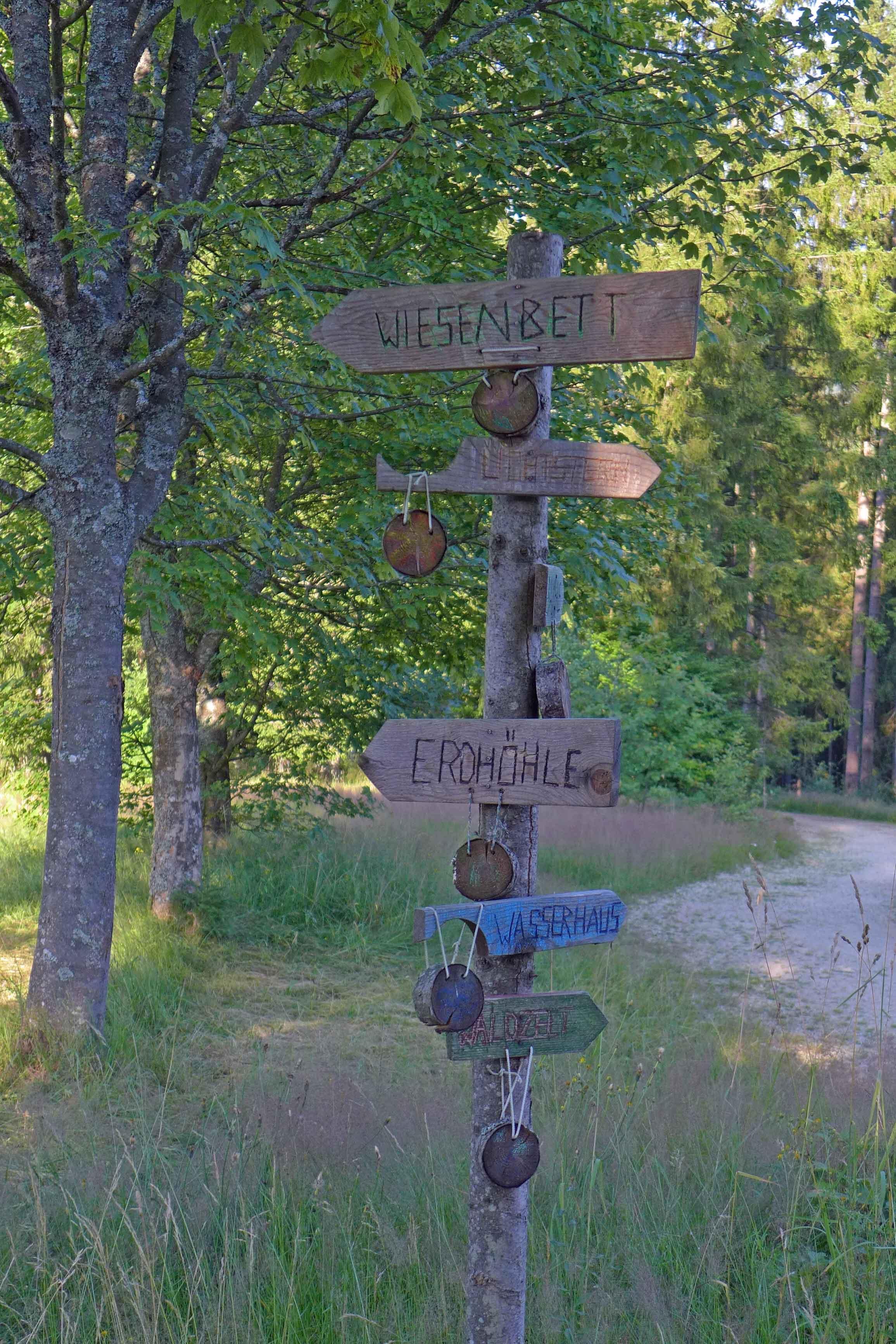 Schilder, die den Weg zu den sechs Themenhütten vom Wildniscamp am Falkenstein weisen
