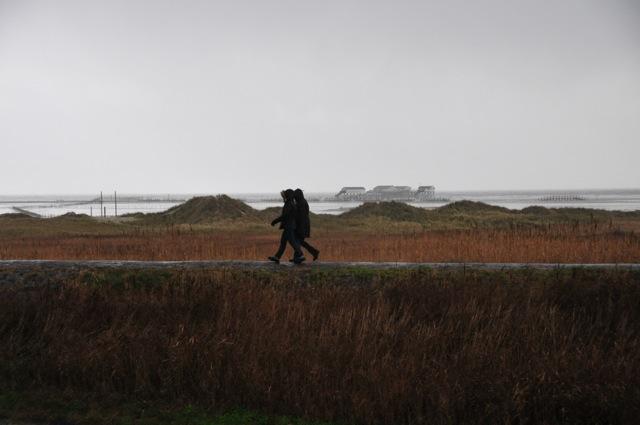 Zwei Spaziergänger laufen auf dem Deich in Sankt Peter Ording