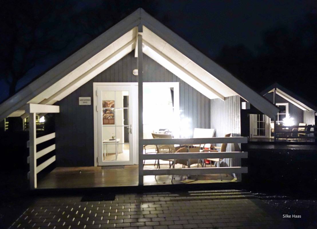 Dänische Hütte auf dem Campingplatz in Ribe zum Wintercampen