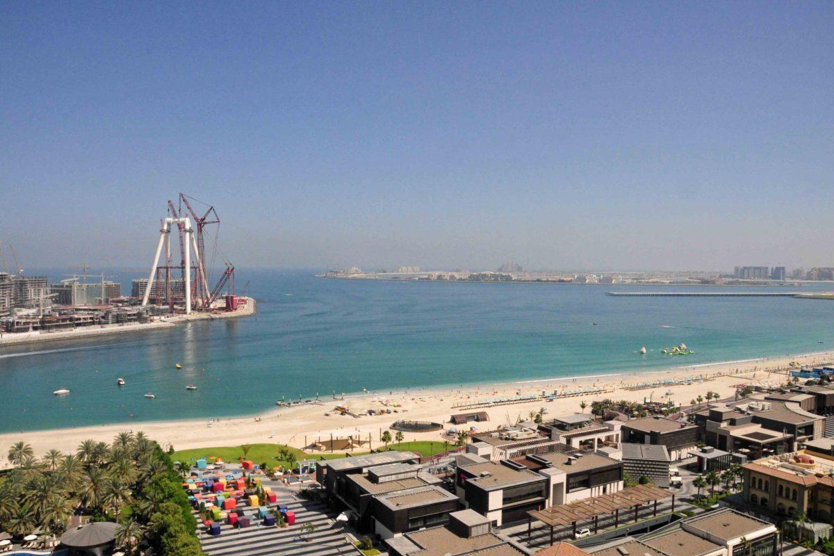 Blick auf die Baustelle vom Dubai Eye, das das größte Riesenrad der Welt werden soll