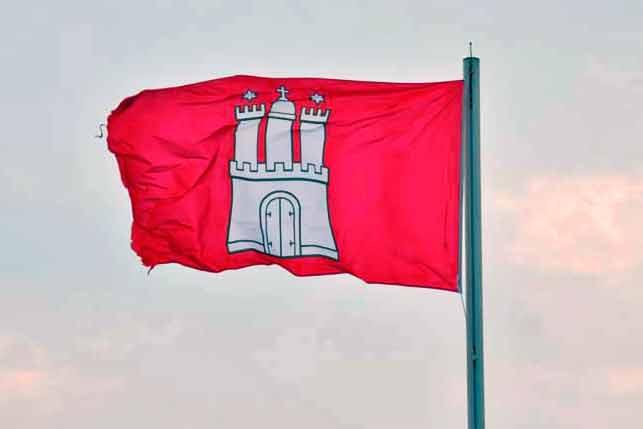 Hamburg Fahne mit weißem Stadttor